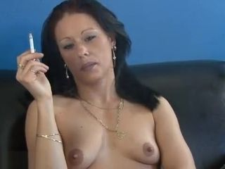 Spunky dark-haired cougar with puny boobies loving a fine smoke - cougar porno