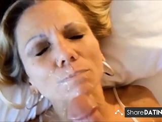 Diminutive mature ash-blonde point of view facial cumshot and replay