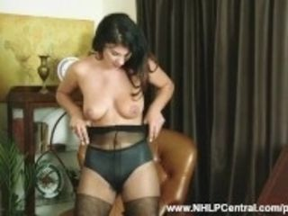 """""""Brunette Roxy Mendez rips open nylon stockings in undies plays playthings pussy"""""""