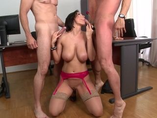 """""""Deep throat double cock sucking at the office with cum-hungry Sheila Grant"""""""